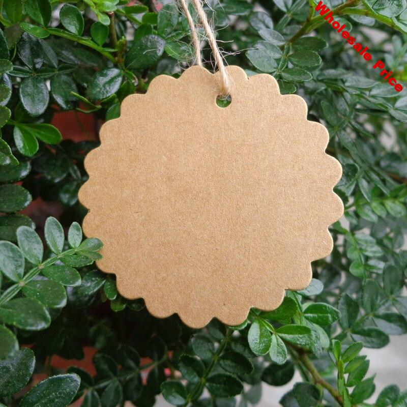 500pcs Wholesale Kraft Paper Blank Price Hang Tag Dia.50mm String Included Flower Shape Party Favor Gift Tag Paper Cards