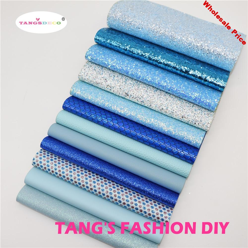 12pcs-High Quality NEW MIX STYLE Blue color mix PU leather set/synthetic leather set/DIY fabric artificial leather