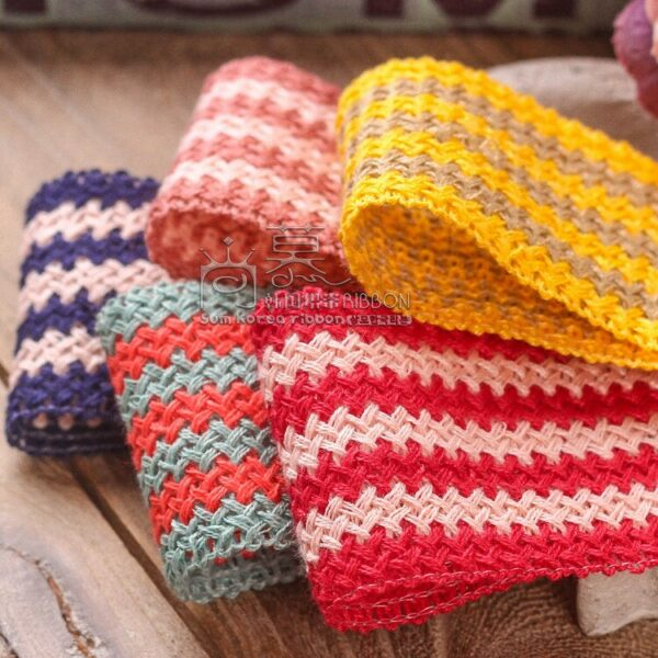 55yards 50mm colorful stripes knitted ribbon for garment shoe hat accessories toll decoration hair band accessories craft