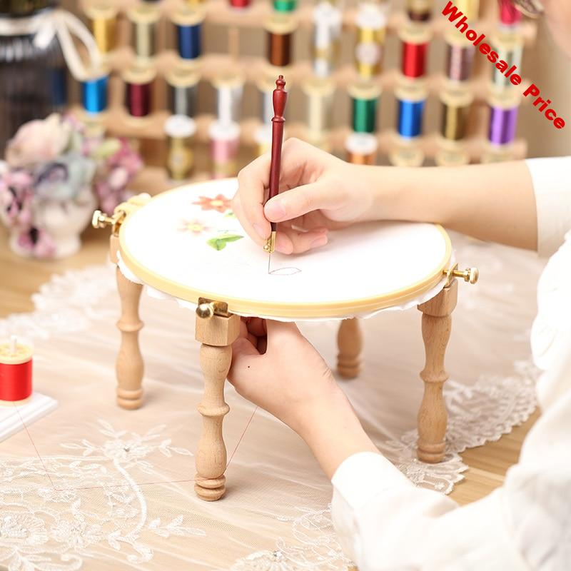Wood Embroidery Hoop Stand Cross Stitch Hoop Set Embroidery Ring Frame Portable Luneville Embroidery Tools