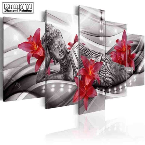full square drill Diamond embroidery Lily Reclining Buddha 5D DIY diamond painting Cross Stitch Multi-picture home decoration
