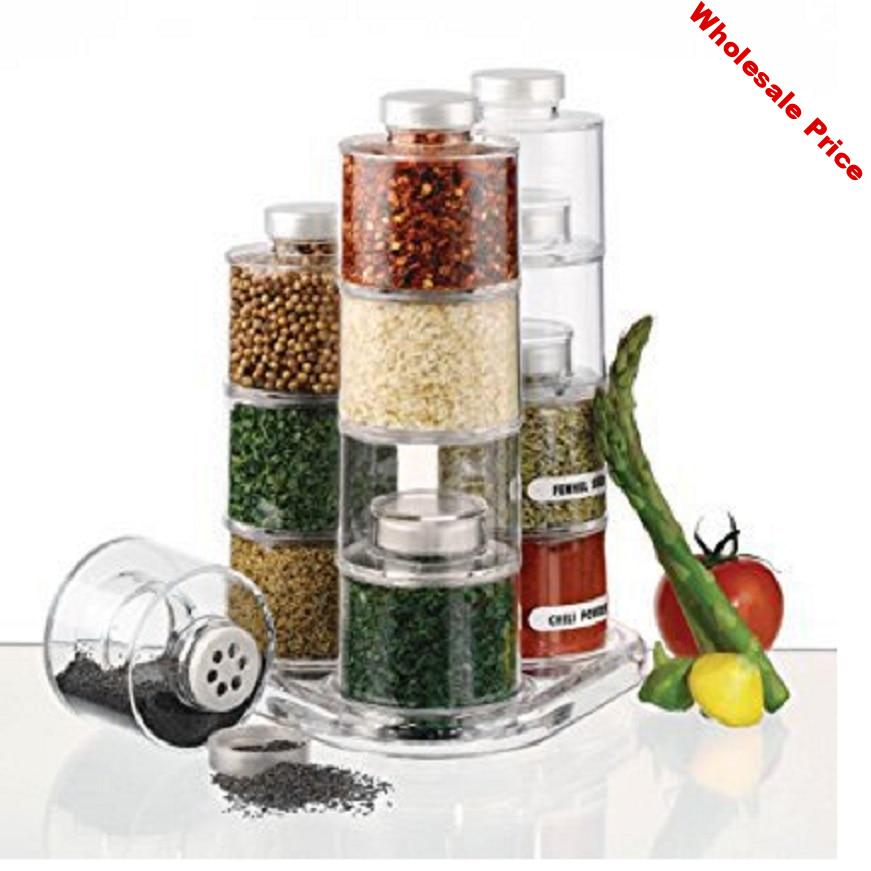 12 Spice Jar Spice Tower Carousel  Spin Carousel Design Herb Spices Seasoning