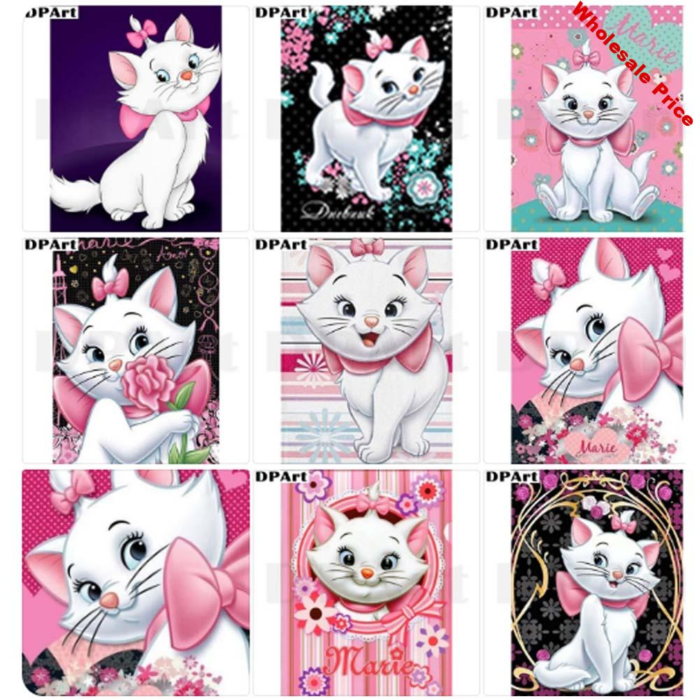 Diamond Painting 5D Full Square/Round Drill White Cat 5D Daimond Embroidery Painting Cross Stitch Mosaic Picture Wall Art M1172