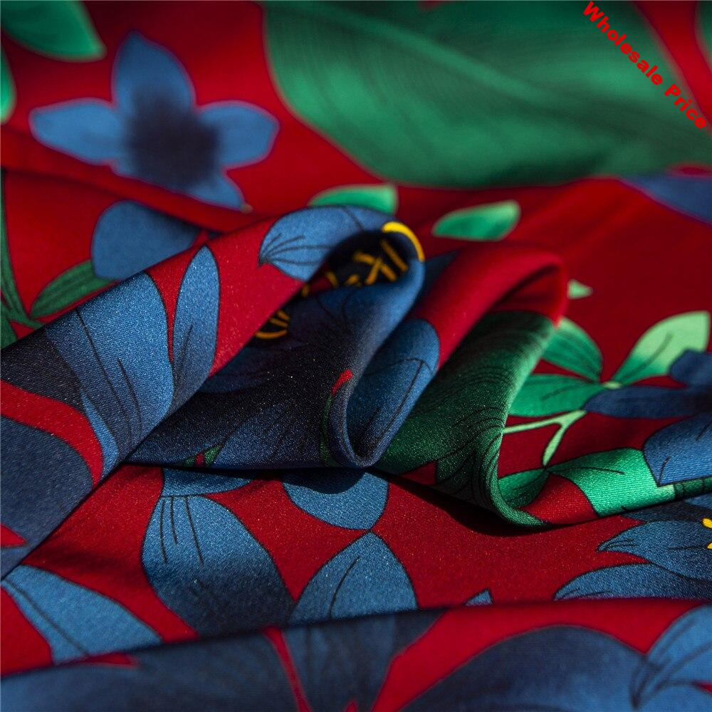 Stretchy floral printed red heavy silk double Georgette satin fabric