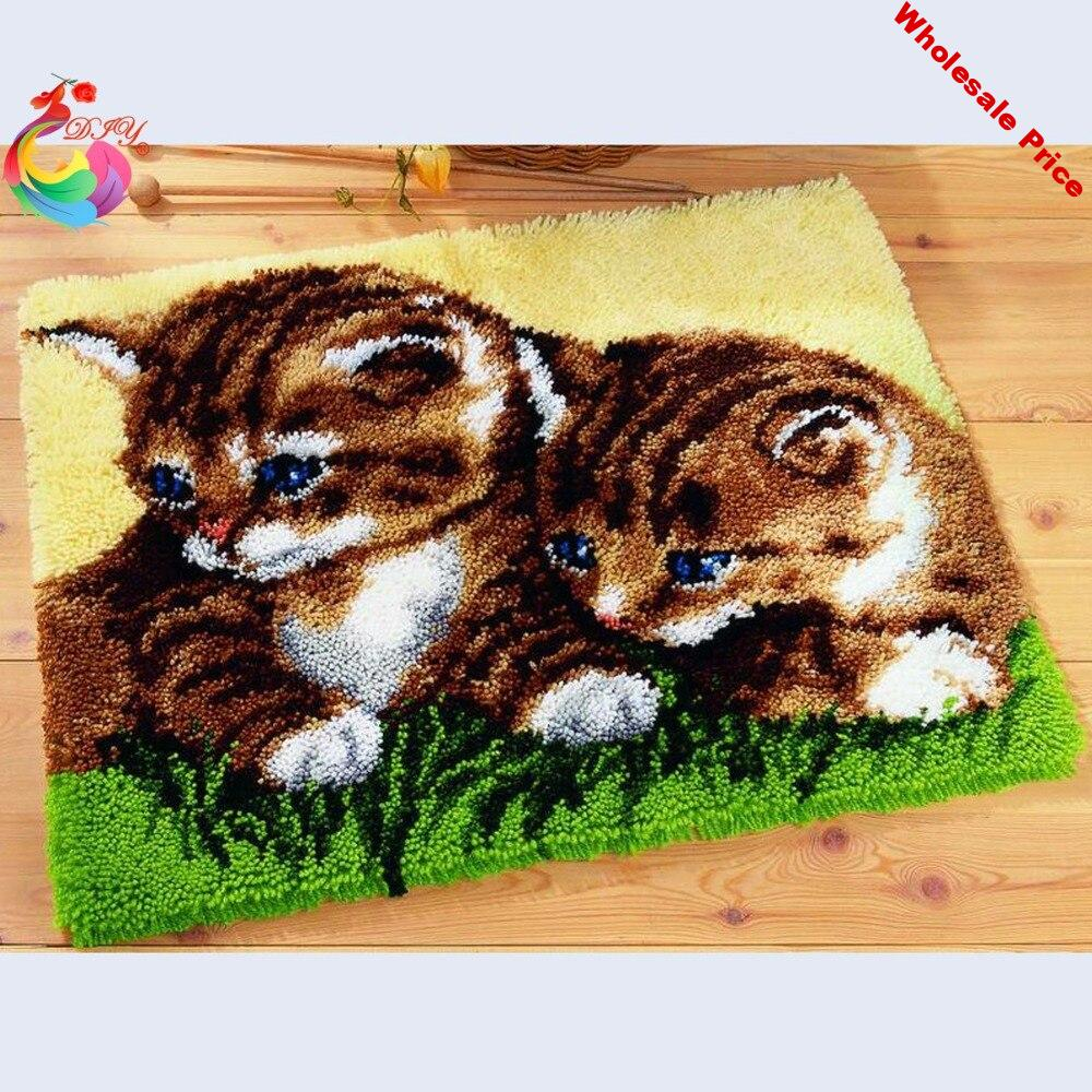 Cute Cats cross-stitch kits Latch hook rug kits embroidery stair carpet mats Stitch threads Carpet embroidery yarn for knitting