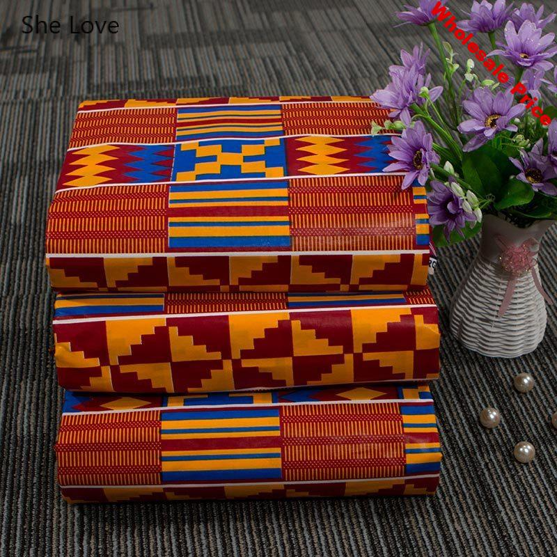 Chzimade 1Yard Ankara African Real Wax Fabric Plaid Printed Plaid Cotton Fabric For Women Party Dress Making Diy Home Decoration