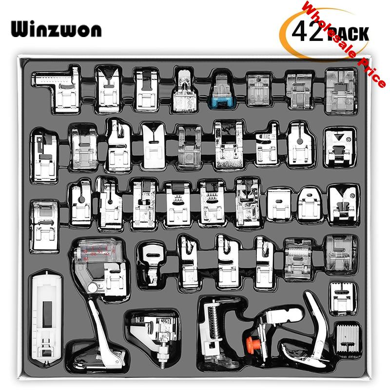32/42Pcs Sewing Machine Presser Foot Kit Domestic Presser Sewing Foot Set With Box For Brother Singer Sewing Machine Accessories