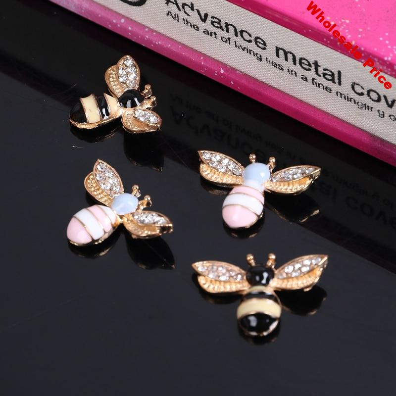 2016New 100pcs Animals Bees Rhinestone Button for DIY Hair and bags or Shoes button accessories ZJ159