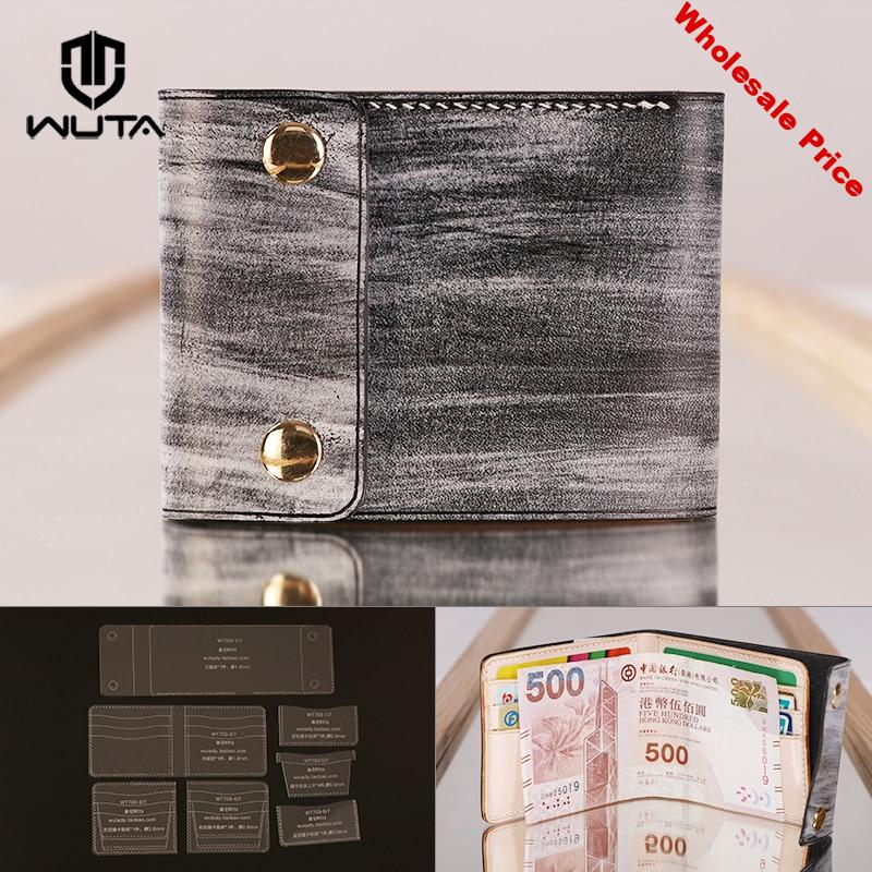 WUTA 703 DIY Wallet Acrylic Template Leathercraft Clear Pattern Set Model for Making Short Wallet Purse Leather Handcraft Tools