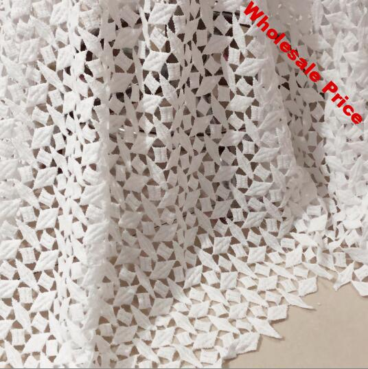 2Yards Nigerian Lace Fabrics For Wedding Dress White African Cord Lace Fabrics High Quality Guipure Lace Mesh Cotton Material