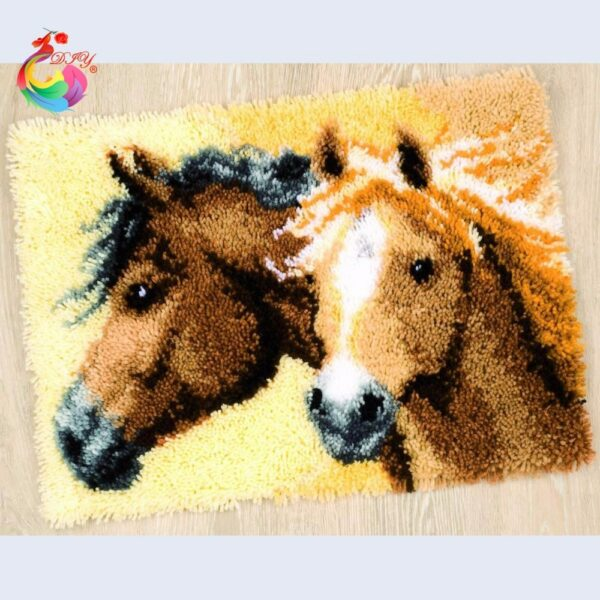 Needlework Cross-stitch carpet diy embroidery Cartoon Horse Latch hook rug kits Carpet embroidery sets embroidery stitch thread