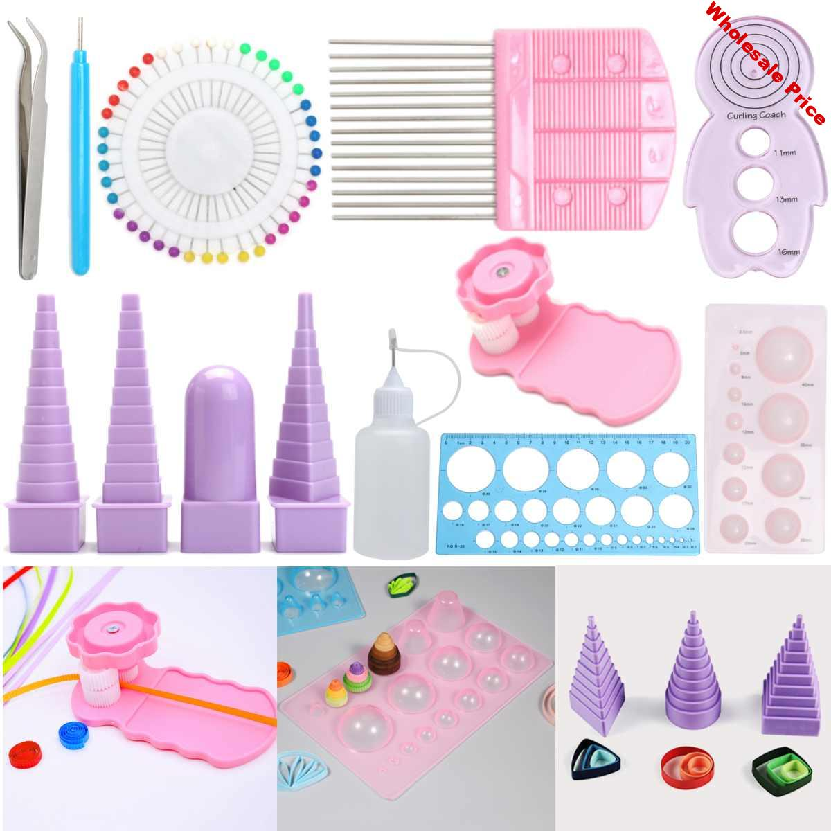 11Pcs Handmade Paper Template DIY Paper Quilling Tools Set Template Mould Board Tweezer Pins Slotted Tool Kit Card Paper Crafs