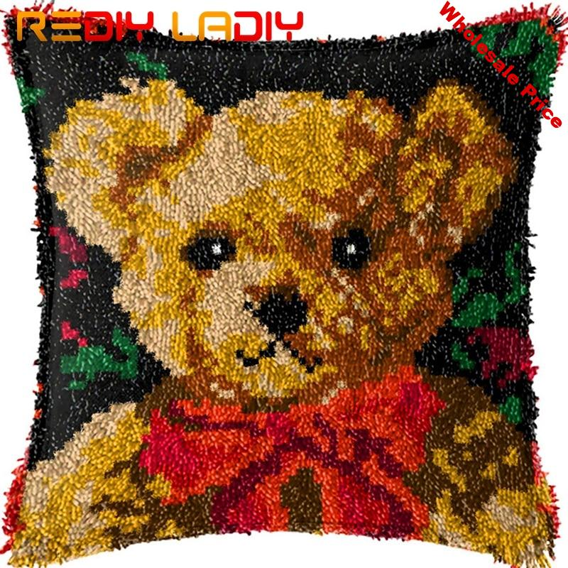 Latch Hook Kit Make Your Own Cushion Teddy Bear Pre-Printed Canvas Crochet Pillow Case Latch Hook Cushion Cover Hobby & Crafts
