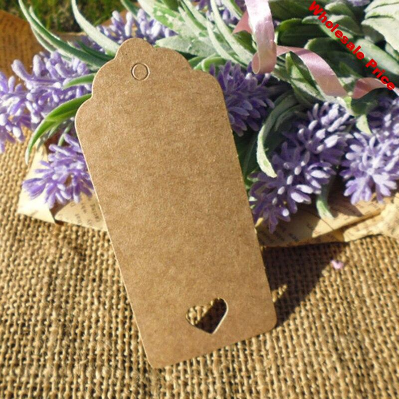 500pcs Kraft Gift Tag with Hollowed Heart Hemp String Included Heart Style Wedding Party Paper Hang Tag Paper Cards Garment Tag