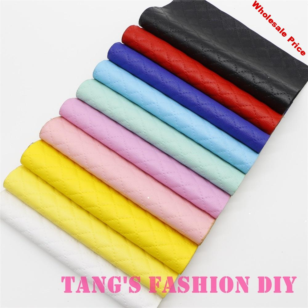 10PCS--20X22CM High Quality DIY checks leathers/Synthetic leather/DIY fabric  CAN CHOOSE COLOR