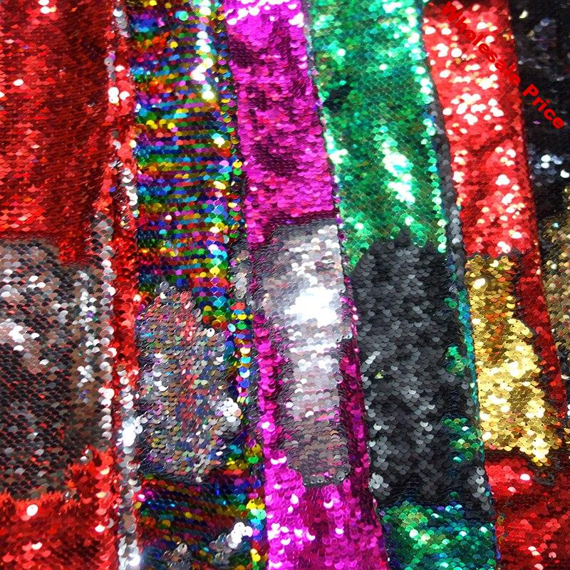 Width 130cm 1Yard Reversible Scale Sequin Glitter Fabric Sparkly Paillette DIY Decoration Fabric for Wedding Party Dress Stage