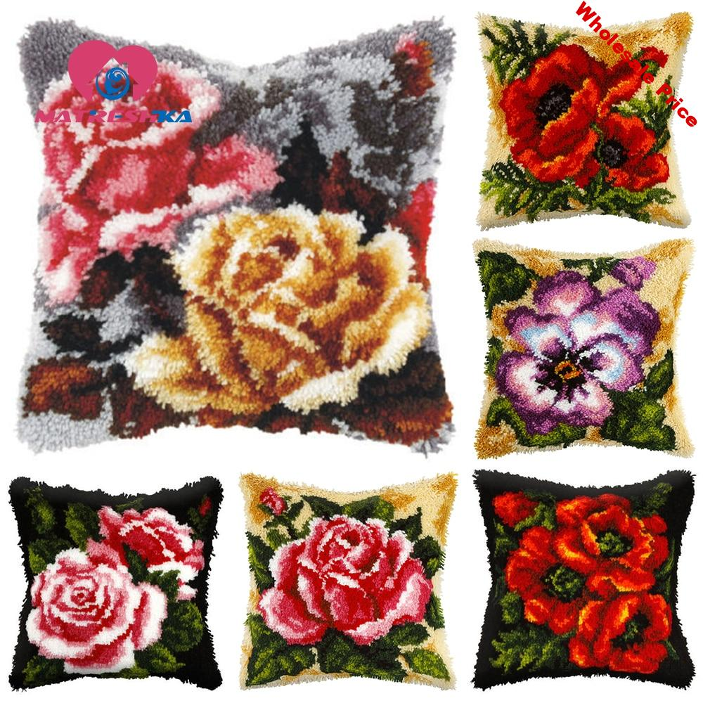 Flowers carpet embroidery cross-stitch pillow tapestry kits do it yourself latch hook pillow embroidery pillow diy rugs hobby