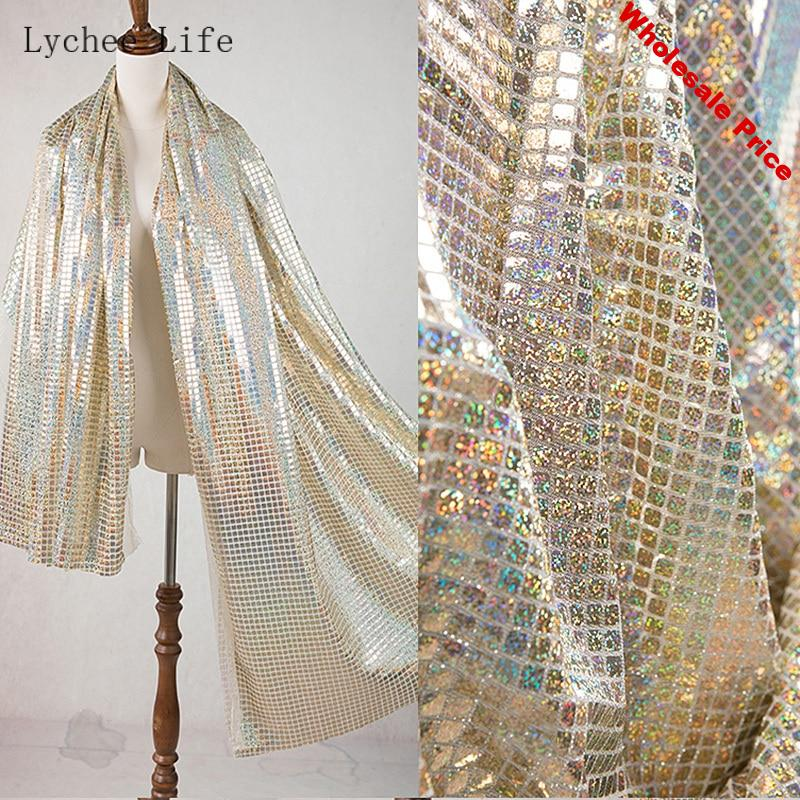 Lychee Life Imported Square Soft Mirror Cloth Fabric Laser Gold Mesh Reflective Sewing Fabric Home Decoration