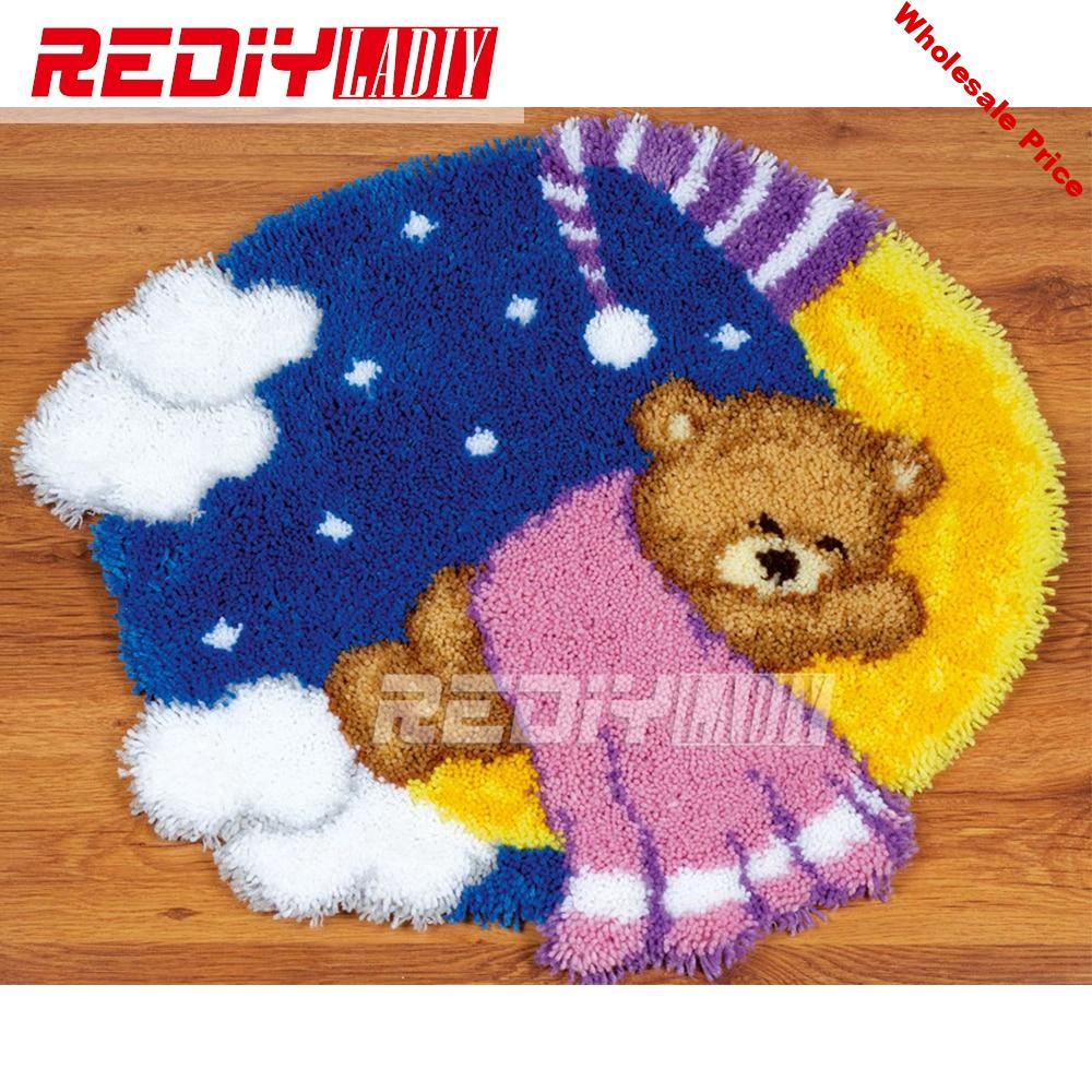 Latch Hook Rug Kits DIY Needlework Unfinished Crocheting Rug Yarn Cushion Mat Embroidery Carpet Rug Ted on the Moon Home Decor