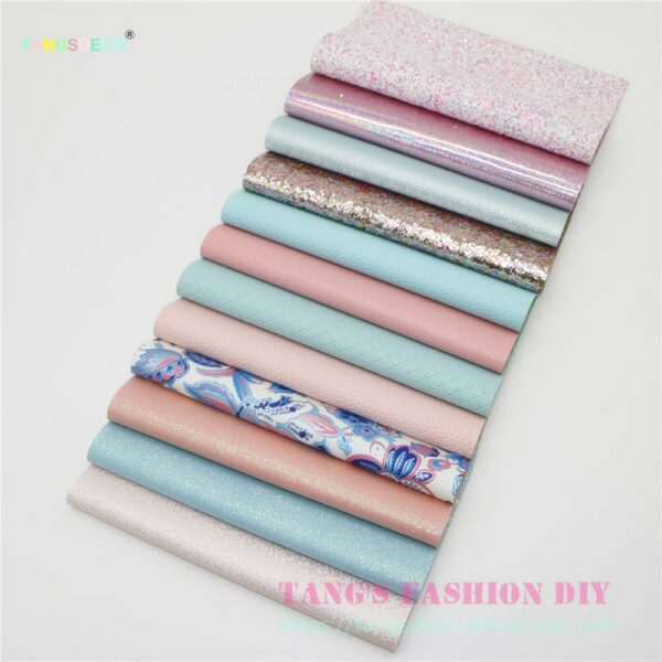12pcs- 20x22cm High Quality candy PINK AND BLUE color mix PU leather set/synthetic leather set/DIY fabric artificial leather