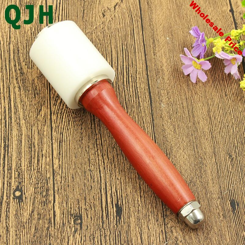 Professional Leather Carve Hammer Nylon Hammers Mallet Wood Handle For Leather Craft Punch Printing Percussion DIY tool RX180