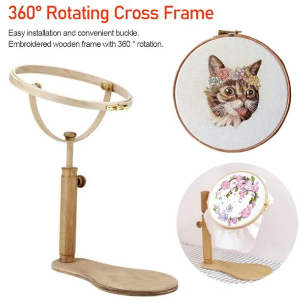 Sewing Tools 1PC Adjustable Embroidery Hoop Stand Hoop Wood Embroidery Cross Stitch Hoop Set Ring Frame