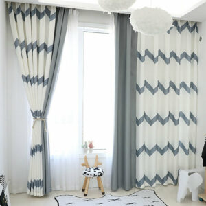 Modern Simple White Blackout Curtain Grey Stripe Full Shading Curtains For Bedroom Living Dining Room