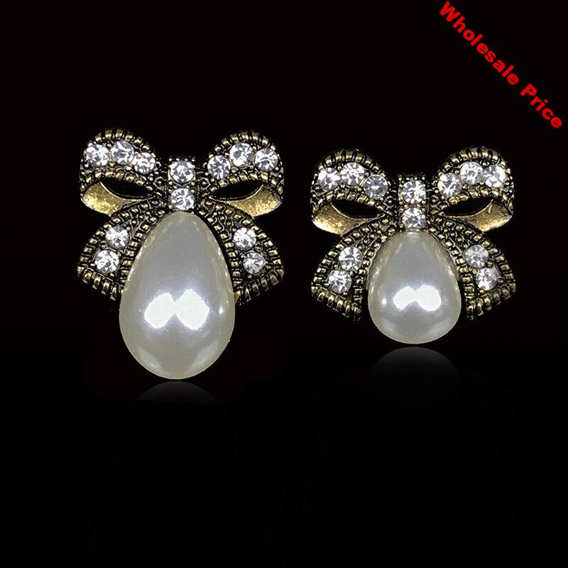 2019New 100Pcs Drop Pearl Alloy Bow Rhinestones button for DIY headwear or Jewelry accessories QW11-QW12