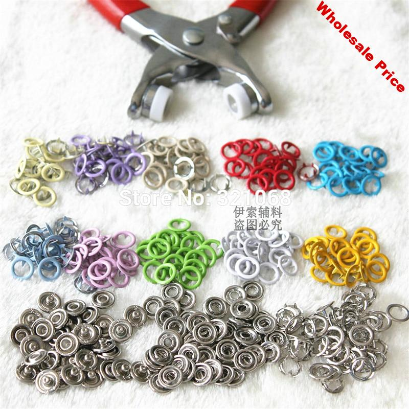 200 sets of 9.5 MM hollow color buckle metal snap button with five claws 10 color + installation tools pliers