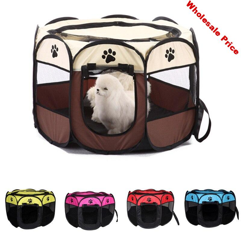 8 side Outdoor Portable Dog Cat Cage Tent Bed Folding Pet Dog Bed House Fence Easy Usage Puppy Dog Carrier Playpen Pet Supply