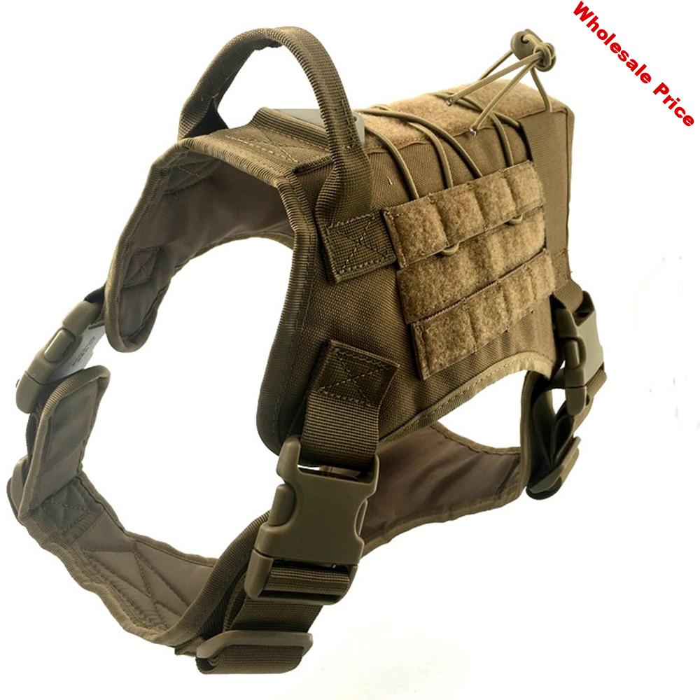 Tactical Dog Hunting Harness Vest Molle System Water Resistant Vest Harness Service Comfortable Dog Training Harness with Handle