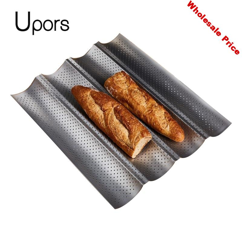 UPORS 2 3 4 Groove Stainless Steel Baking  French Bread Pan Tray Perforated Non Stick Baguette Mold Cake Form Baking Accessories