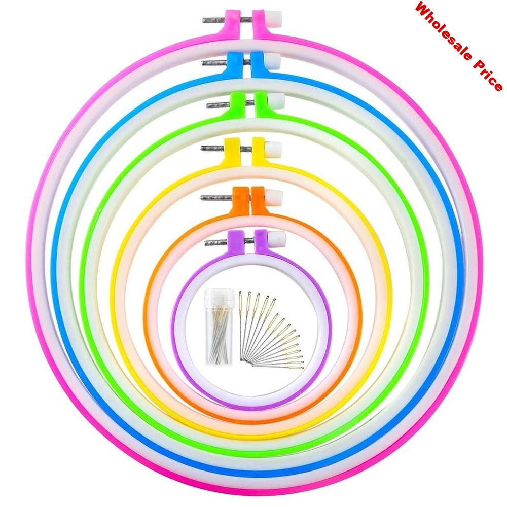 6 Pieces 8.6cm-26cm Embroidery Hoops and 15 Needles Plastic Circle Cross Stitch Hoop Ring Embroidery Circle Set(Multicolor)