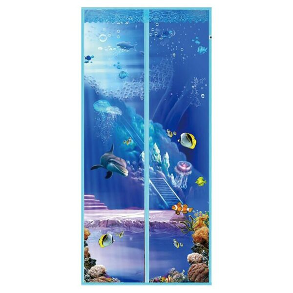 New Anti Mosquito Magnetic Screen Door Cartoon Pattern Printed Magnetic Strips Automatically Shut Mesh Curtain Magnetic Fastener