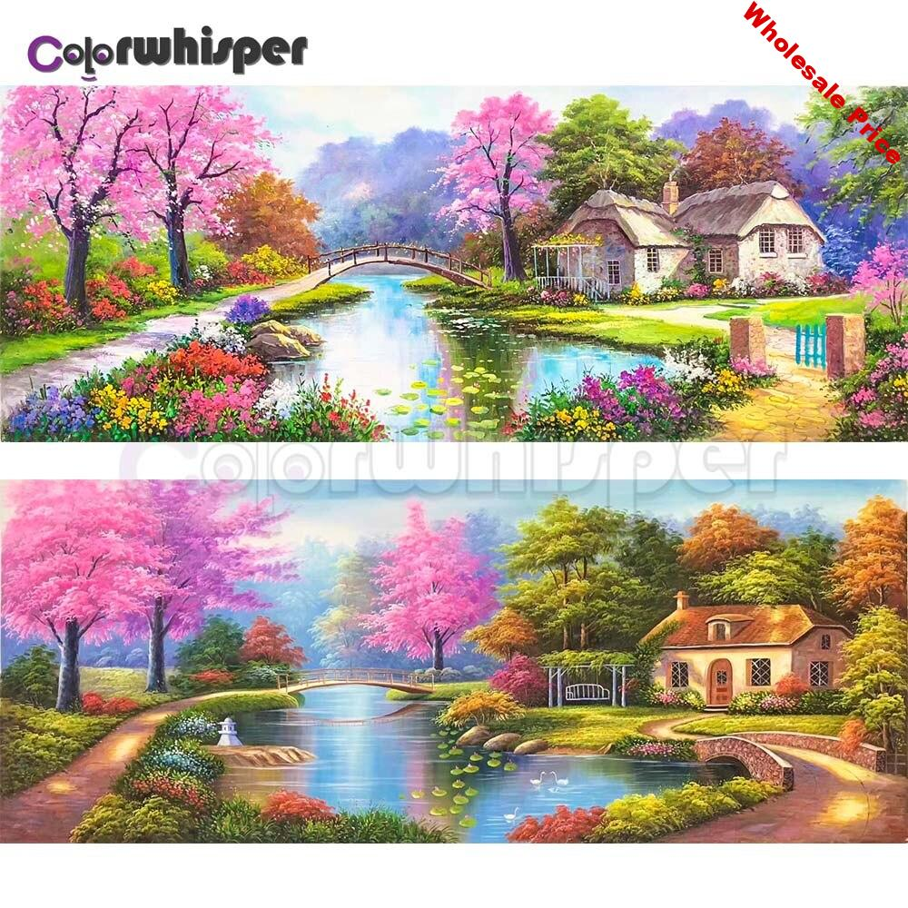 Diamond Painting Full Square/Round Drill House Tree Bridge 5D Daimond Painting Embroidery Cross Stitch Mosaic Picture Art  Z1049