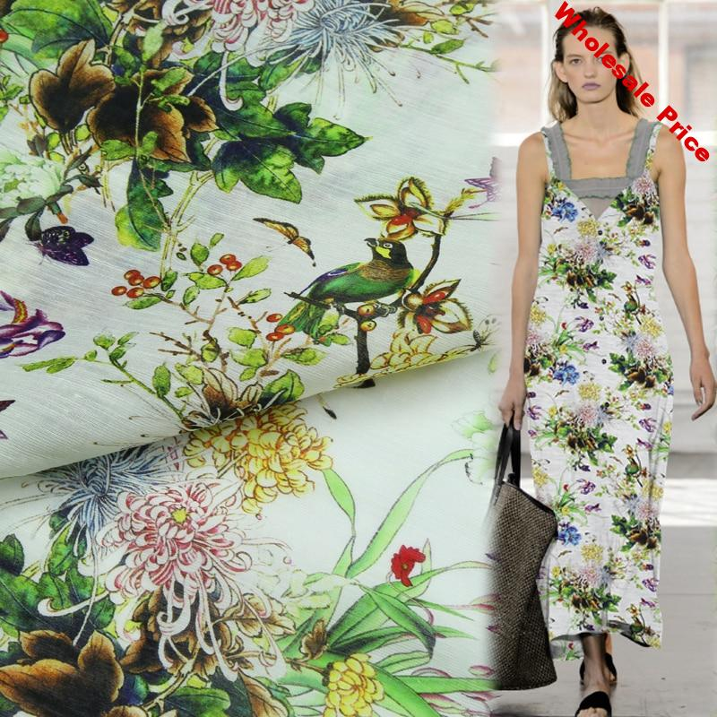 Floral and animal design silk linen blended fabric flower and bird print