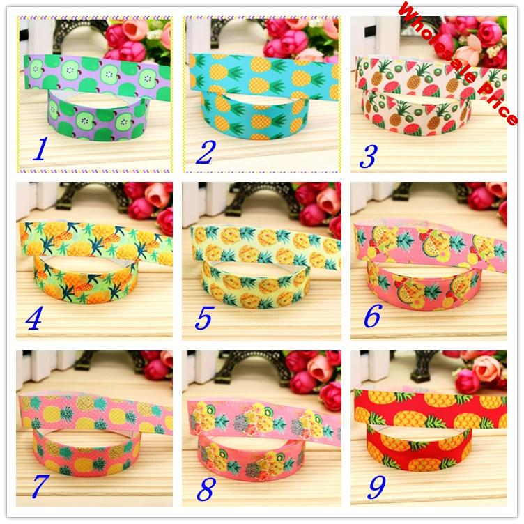 7/8'' Free shipping pineapple fruit apple printed grosgrain ribbon hairbow headwear party decoration diy wholesale OEM 22mm S370
