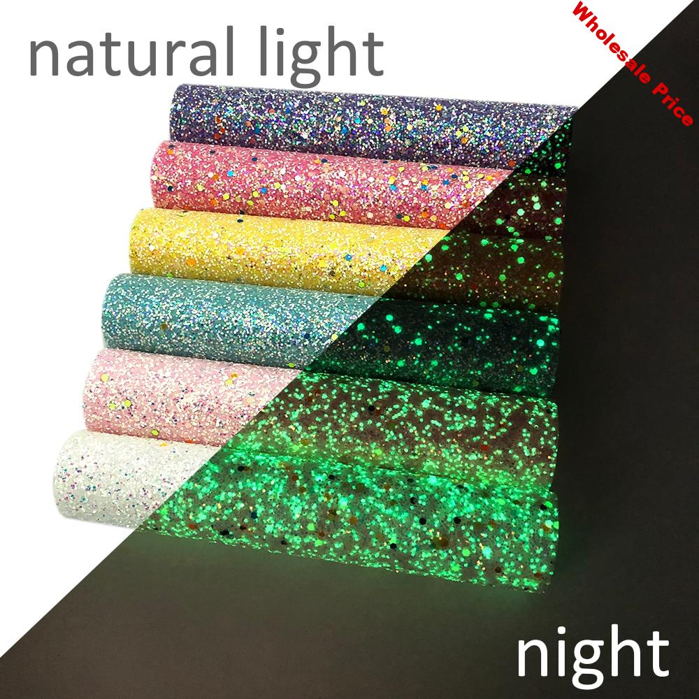 New 6Pcs/Set 20*34cm Glow in the Dark Chunky Glitter Fabric Synthetic Leather Sequins Bag Shoes Handmade Phone Case DIY
