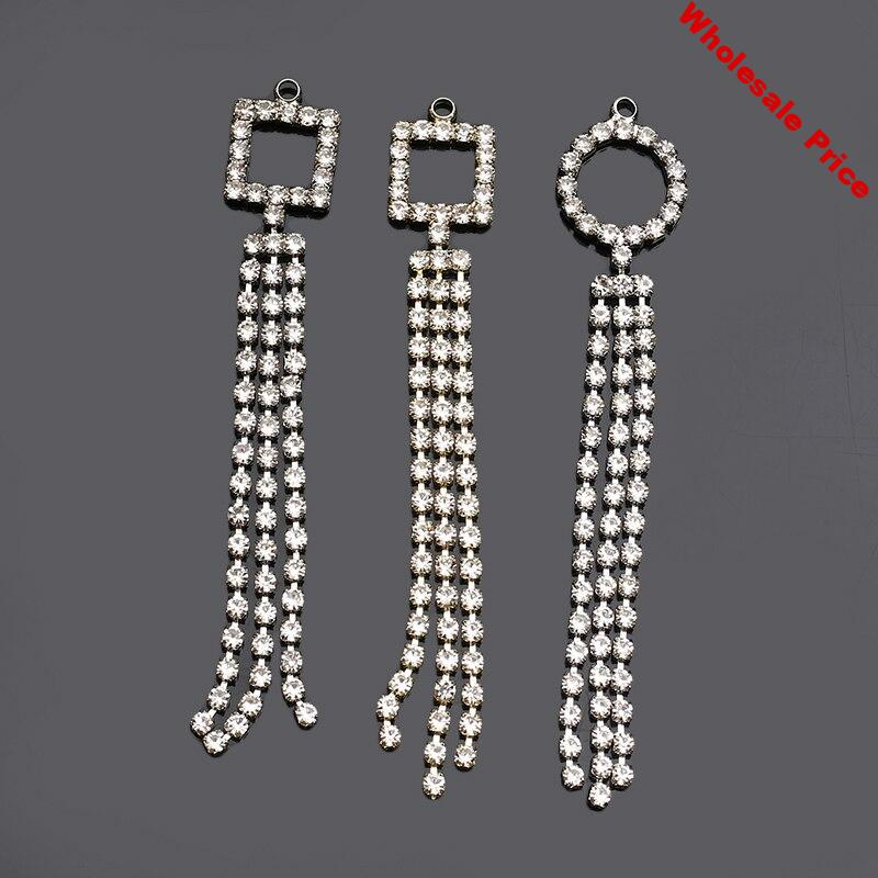 2019New 60Pcs Rhinestones Round or Square 3Row Tassel alloy Pendant button for DIY Jewelry Earring or hair Accessories FY69-FY70