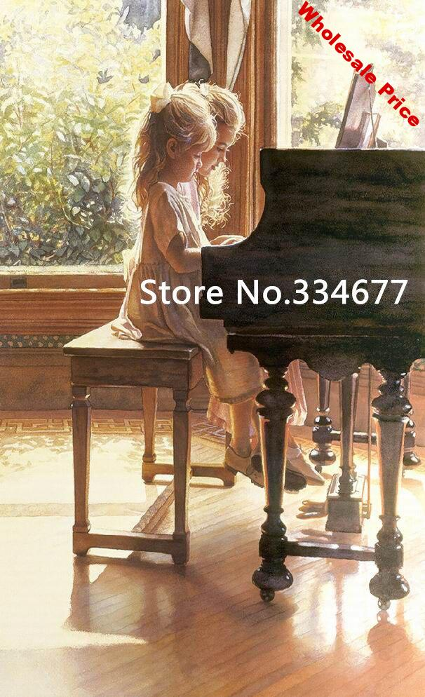 play piano Girl cute child For Embroidery Needlework 14CT Counted Unprinted DIY Cross Stitch Kits Handmade Art Wall Decor
