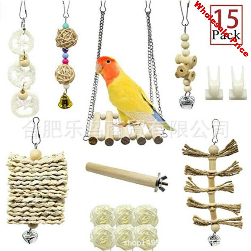 15 PCs Parrot Toy Supplies Bird Toy Log Color Set 15-Piece Non-Dyed Healthy and Environmentally Friendly