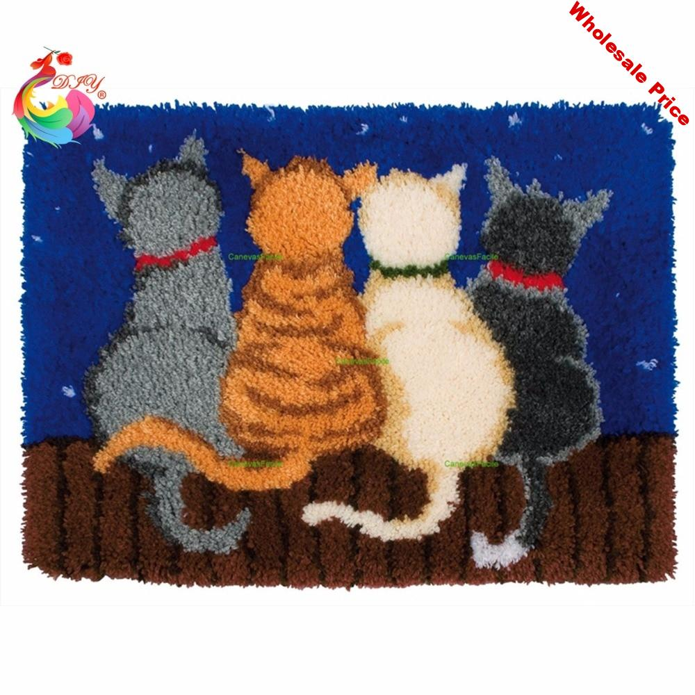 Home Decor Cross-stitch carpet diy embroidery Cartoon Cat Latch hook rug kits Carpet embroidery sets embroidery stitch thread