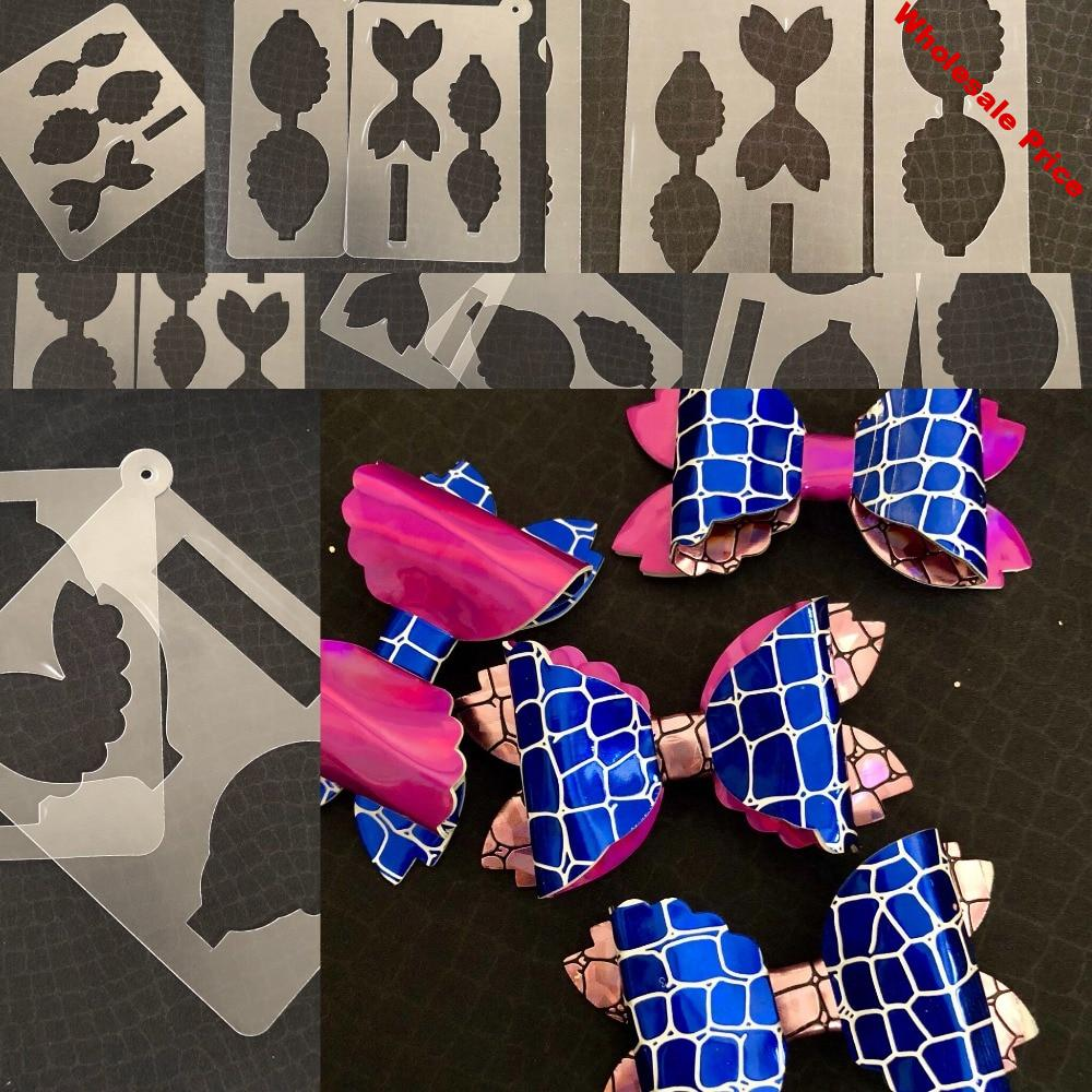 """Hair Bow die cut  templates bow00027 for hand cutting size: 6""""/5""""/4.5""""/4""""/3.5""""/3""""/2.5"""""""