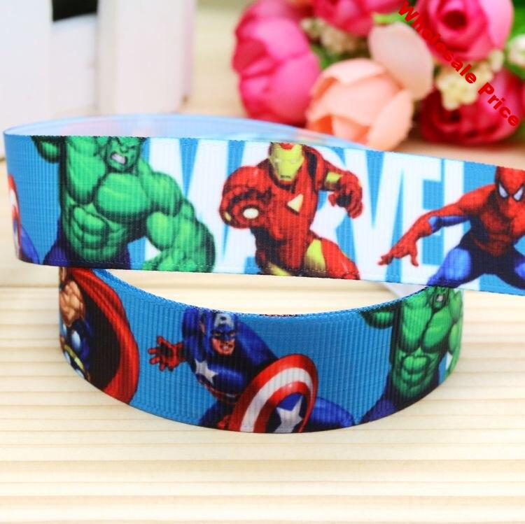 DHK 7/8'' Free shipping heroes marvel printed grosgrain ribbon hairbow headwear party decoration diy wholesale OEM 22mm P5254
