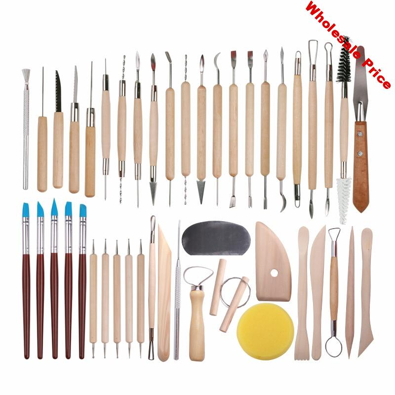 DINIWELL 45 PCS Pottery Clay Sculpting Tool Sets For Beginners Professional Art Crafts Wooden Handle Modeling Ceramic Clay Tools