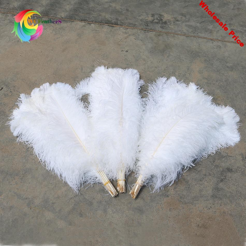 Bulk price 100pcs/lot Elegant White ostrich feathers 15-75cm for craft wedding party supplies Carnival decoration plumages