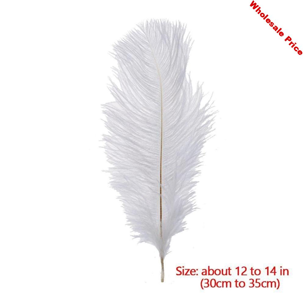 Wholesale 10pcs natural White Ostrich Feathers Hard Rod 30-35cm Hotel Party Wedding Decorations Jewelry Plume Feather