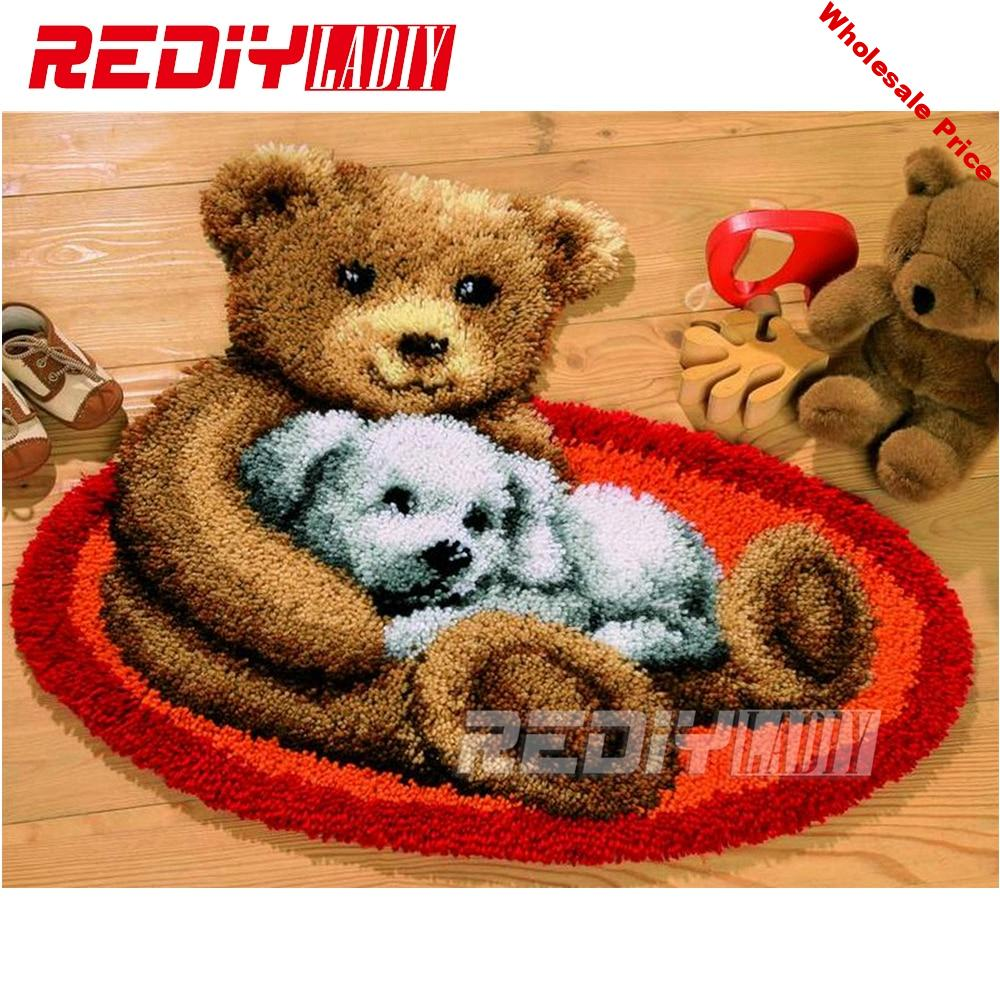 New Latch Hook Rug Kits DIY Needlework Unfinished Crocheting Rug Yarn Cushion Mat Embroidery Carpet Rug Ted and Dog Home Decor