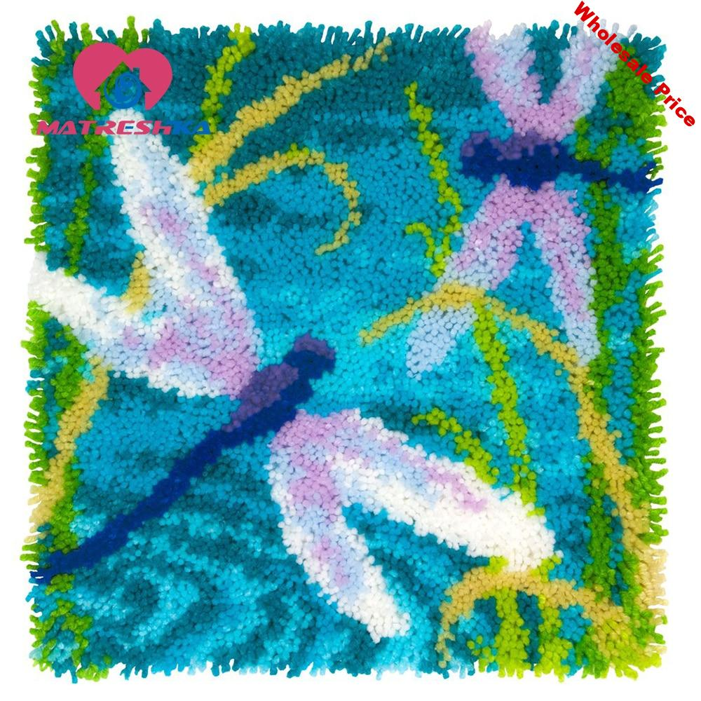 Dragonfly latch hook rug kits carpet embroidery sale sets Foamiran for crafts crochet hook clover do it yourself point rug