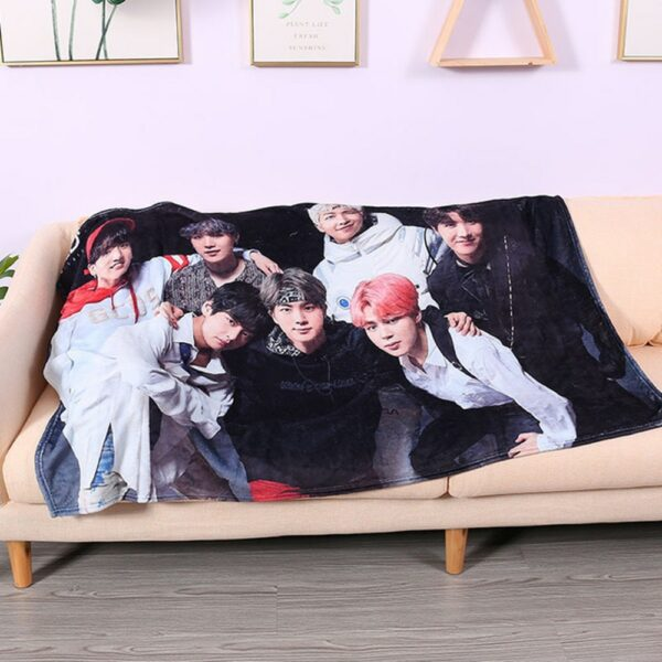 Customized digital printed kpop accessory cheering Coral fleece bt s print with logo blanket 300gsm taehyung